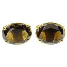 18K Smoky Quartz Classic Ornate Retro Oval Cuff Links Yellow Gold [CQXT]