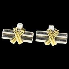 18K Two Tone Criss Cross Bar 1960's Retro Cuff Links White Gold [CQXT]