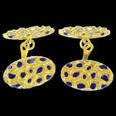 18K Retro 1960's Textured Nugget Blue Enamel Cuff Links Yellow Gold [CQXT]