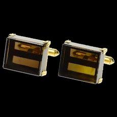 14K 1960's Square Retro Smoky Quartz Cube Cuff Links Yellow Gold [CQXT]