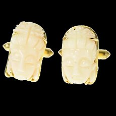 14K Ornate Carved Light Pink Coral Buddha Head Cuff Links Yellow Gold [CQXT]