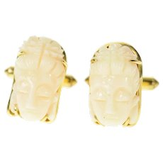 14K Ornate Carved Light Pink Coral Buddha Head Cuff Links Yellow Gold [CXQC]