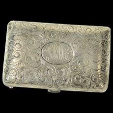 Sterling Silver MWS Monogram Ornate Victorian Scroll Match Case  [CXQC]