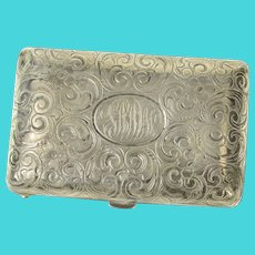 Sterling Silver MWS Monogram Ornate Victorian Scroll Match Case  [CQXC]