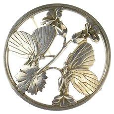 Sterling Silver Georg Jensen Ornate Butterfly Flower Round 283 Pin/Brooch  [CQXC]