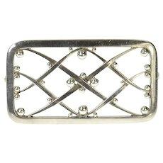Sterling Silver Georg Jensen Lattice Squared Ornate Pattern 255 Pin/Brooch  [CQXC]