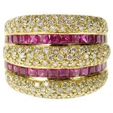 18K 3.29 Ctw Princess Ruby Pave Diamond Band Ring Size 5 Yellow Gold [CXQC]