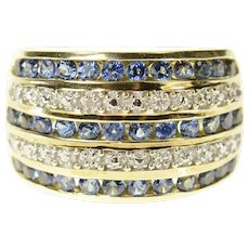 10K Tiered Sapphire Diamond Accent Graduated Band Ring Size 7.25 Yellow Gold [CXQC]