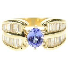 14K 1.60 Ctw Oval Tanzanite Baguette Diamond Ring Size 6.5 Yellow Gold [CXQC]