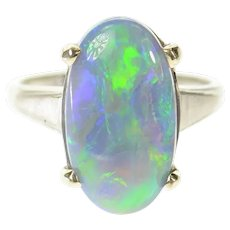14K Oval Natural Opal 1950's Classic Statement Ring Size 8.25 White Gold [CXQC]