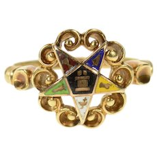 10K 1940's Order of the Eastern Star Enamel Ring Size 6 Yellow Gold [CXQC]
