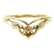 14K Claddagh Celtic Loyalty Symbol Curved Band Ring Size 8 Yellow Gold [CXQC]