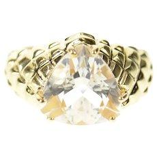10K Trillion Cubic Zirconia Tufted Lattice Pattern Ring Size 5 Yellow Gold [CXQC]