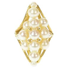 14K Marquise Pearl Cluster Retro Cocktail Ring Size 5 Yellow Gold [CXQC]