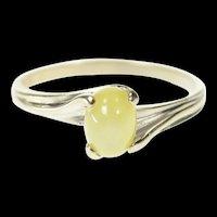 10K Retro Ornate Syn. Green Star Sapphire Ring Size 6.5 White Gold [CQXK]