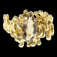 10K Marquise Smoky Quartz Brutalist Statement Ring Size 9.75 Yellow Gold [CQXK]