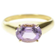 10K Oval Amethyst Solitaire Graduated Statement Ring Size 6.75 Yellow Gold [CQXF]
