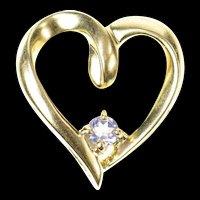 10K Amethyst Inset Classic Simple Heart Pendant Yellow Gold [CQXK]