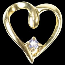 10K Amethyst Inset Classic Simple Heart Pendant Yellow Gold [CXQC]