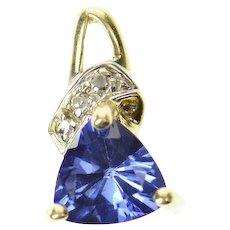 10K Trillion Syn. Tanzanite Diamond Accent Pendant Yellow Gold [CXQC]