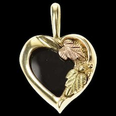 10K Heart Black Onyx Black Hills Leaf Pendant Yellow Gold [CXQC]