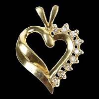 10K Diamond Classic Curvy Heart Love Symbol Pendant Yellow Gold [CQXK]