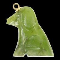 14K Carved Jade Dog 3D Ornate Stone Pendant Yellow Gold [CXQC]