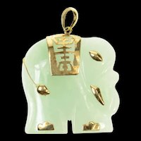 10K Carved Ornate Elephant Chinese Character Pendant Yellow Gold [CXQC]