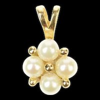14K Classic Pearl Cluster Squared Statement Pendant Yellow Gold [CXQC]