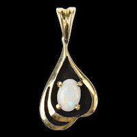 14K Oval Natural Opal Ornate Statement Pendant Yellow Gold [CXQC]