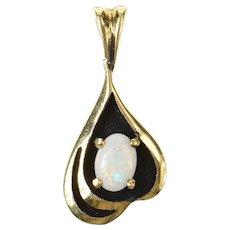 14K Oval Natural Opal Ornate Statement Pendant Yellow Gold [CQXF]