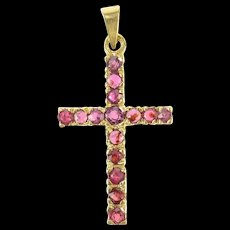 14K Natural Ruby Encrusted Cross Christian Faith Pendant Yellow Gold [CXQC]