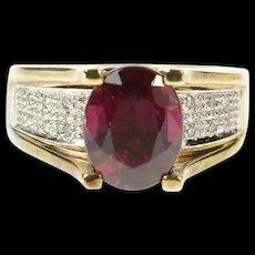 10K Oval Purple Tourmaline Diamond Statement Ring Size 6 Yellow Gold [CQXK]