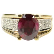 10K Oval Purple Tourmaline Diamond Statement Ring Size 6 Yellow Gold [CQXF]