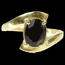 10K Black Onyx Oval Statement Bypass Simple Ring Size 5 Yellow Gold [CQXK]