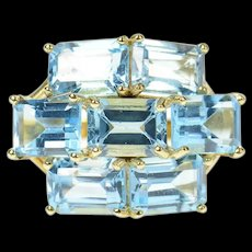 10K Emerald Blue Topaz Tiered Statement Cluster Ring Size 7 Yellow Gold [CQXK]