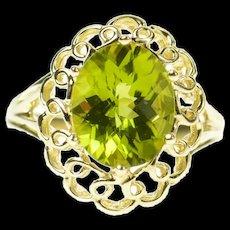 10K Ornate Oval Peridot Filigree Halo Statement Ring Size 7 Yellow Gold [CQXK]
