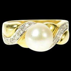 18K Pearl Wavy Diamond Accent Statement Ring Size 7.5 Yellow Gold [CQXK]