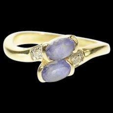 14K Oval Tanzanite Diamond Accent Bypass Ring Size 6 Yellow Gold [CQXK]
