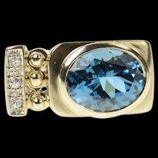 10K Blue Topaz Diamond Accent Squared Statement Ring Size 6 Yellow Gold [CQXK]