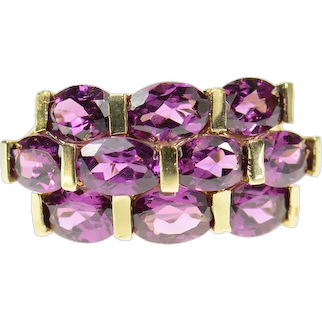 10K Oval Tiered Purple Tourmaline Cluster Statement Ring Size 7 Yellow Gold [CQXK]