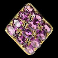 10K Oval Purple Tourmaline Bypass Cluster Ring Size 6 Yellow Gold [CQXK]