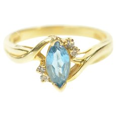 14K Marquise Blue Topaz Diamond Accent Bypass Ring Size 5.75 Yellow Gold [CQXF]