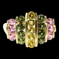 10K Graduated Yellow & Pink Topaz Tourmaline Ring Size 8 Yellow Gold [CQXK]