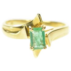 14K Natural Classic Emerald Solitaire Bypass Ring Size 7.25 Yellow Gold [CXQC]