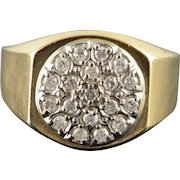 10K 0.50 CTW Diamond Cluster Men's Statement Ring Size 11 Yellow Gold [QWXC]
