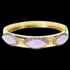 "14K Jade Amethyst Halo Diamond Cluster Bangle Bracelet 6.25"" Yellow Gold [CQXK]"