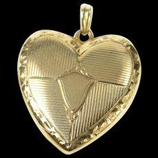 10K Retro Ornate Heart Picture Photo Locket Pendant Yellow Gold [CXQC]