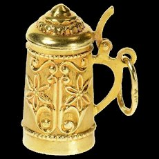 18K 3D Traditional German Beer Stein Embossed Cuff Links Yellow Gold [CQXK]