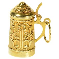18K 3D Traditional German Beer Stein Embossed Cuff Links Yellow Gold [CQXF]